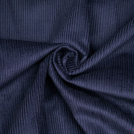 Tissu velours côtelé coton bleu patriote - mercerie en ligne - pretty mercerie
