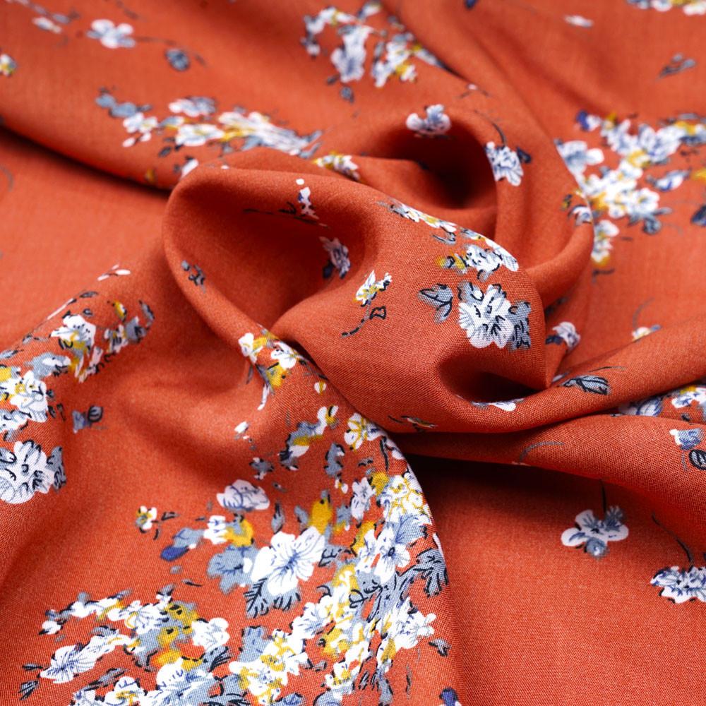 Tissu viscose ginger à motif fleuri moutarde et bleu gris - pretty mercerie - mercerie en ligne