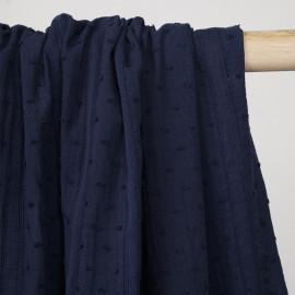 Tissu coton plumetis et bandes brodées bleu marine - pretty mercerie - mercerie en ligne