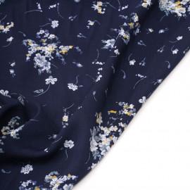 Tissu viscose bleu marine à motif fleuri moutarde et bleu gris - pretty mercerie - mercerie en ligne