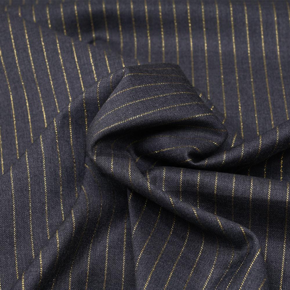 Tissu flanelle gris anthracite à motif rayure fil lurex or  - pretty mercerie - mercerie en ligne