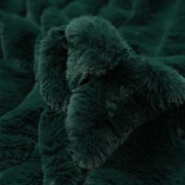 Tissu fausse fourrure vert foncé à rayures verticales - pretty mercerie - mercerie en ligne