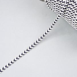 Galon tressé chevron blanc et bleu 5mm - pretty mercerie - mercerie en ligne