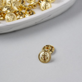 Bouton métal à queue ancre marine doré 15 mm - pretty mercerie - mercerie en ligne