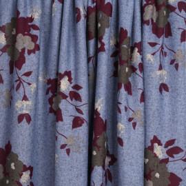 Tissu jersey bleu ciel à motif fleuri purple et gris | pretty mercerie | mercerie en ligne