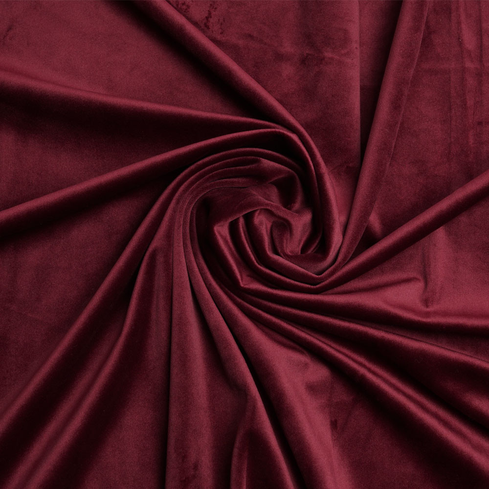 Tissu velours ras rouge garnet | Pretty Mercerie | Mercerie en ligne