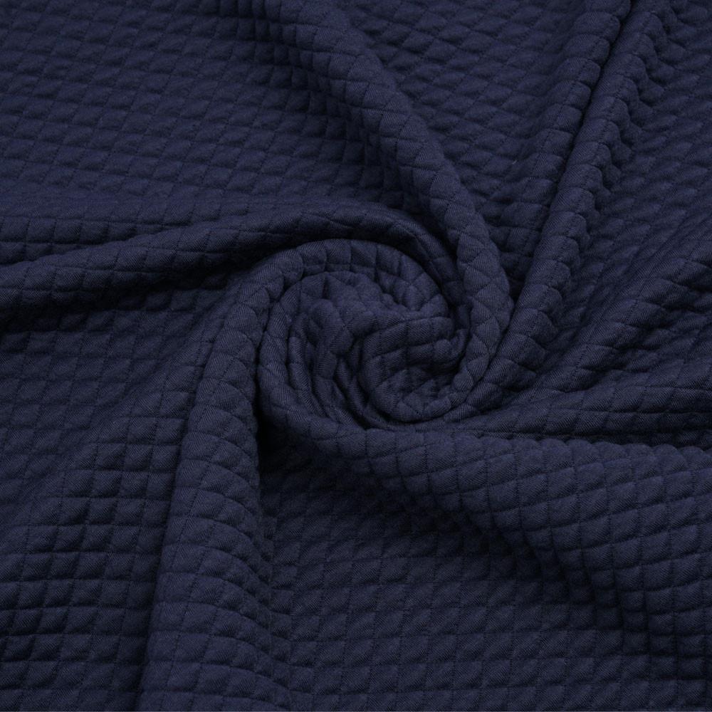Tissu matelassé bleu marine à motif petits carreaux   Pretty Mercerie   mercerie en ligne