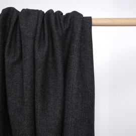 Tissu lainage tissé chevron gris et noir | Pretty Mercerie | mercerie en ligne