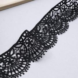 Ruban guipure noir à motif éventail| pretty mercerie | mercerie en ligne
