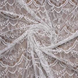 Tissu dentelle fine blanc à motif romantique   pretty mercerie   mercerie en ligne