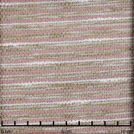 Tissu tweed tissé à rayures blanc, beige et vieux rose | Pretty Mercerie | mercerie en ligne