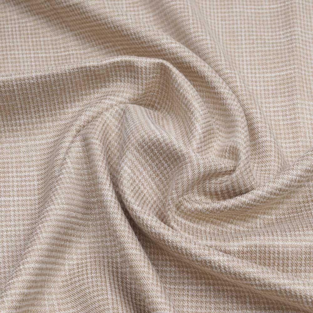 Tissu tissé nougat et blanc à motif pied de poule et fil lurex or   Pretty Mercerie   Mercerie en ligne
