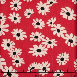 Tissu viscose rouge poppy à motif daisy blanc et moutarde | Pretty mercerie | mercerie en ligne