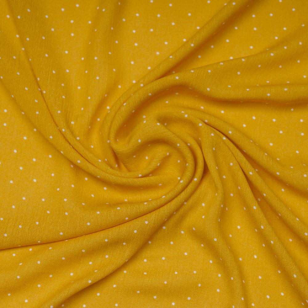 Tissu viscose mimosa à motif petit pois blanc | Pretty Mercerie | mercerie en ligne