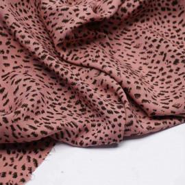 Tissu viscose terracotta à motif léopard chocolat et noir | Pretty mercerie | mercerie en ligne
