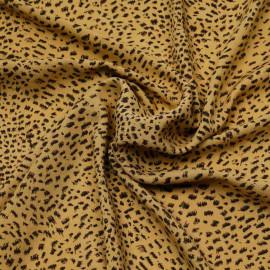 Tissu viscose moutarde à motif léopard chocolat et noir | Pretty mercerie | mercerie en ligne