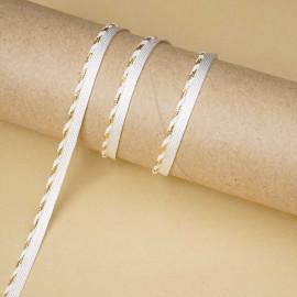 passepoil blanc cassé tressé fil doré   Pretty Mercerie   mercerie en ligne