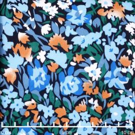 Tissu viscose bleu marine à motif floral abstrait abricot et bleu | pretty mercerie | mercerie en ligne