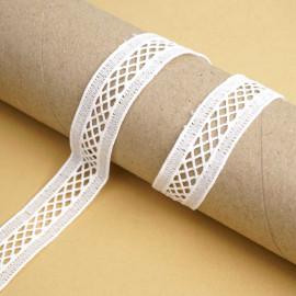 Ruban guipure blanc échelle à motif graphique | pretty mercerie | mercerie en ligne