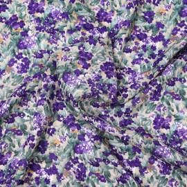 Tissu viscose beige à motif champs fleuri violet et vert   Pretty Mercerie   mercerie en ligne