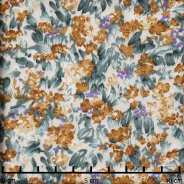 Tissu viscose beige à motif champs fleuri moutarde, mauve et vert | Pretty Mercerie | mercerie en ligne