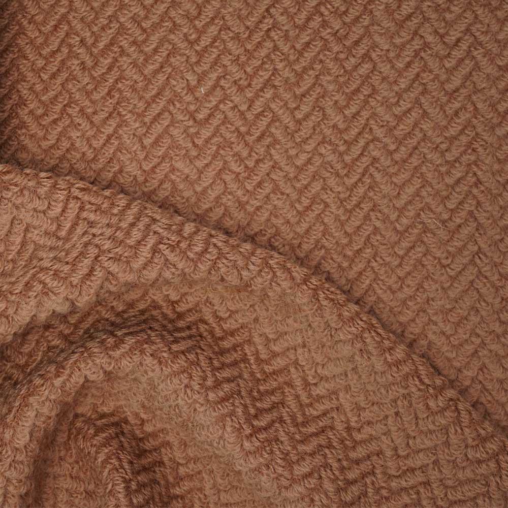 Tissu lainage rust maille bouclée à motif chevron | Pretty Mercerie | mercerie en ligne