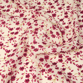 Tissu viscose écru à motif floral framboise et moutarde | Pretty Mercerie | Mercerie en ligne