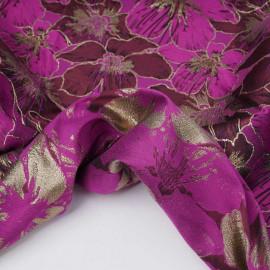 Tissu jacquardfuchsia à motif orchidée rhododendron et fil lurex or | Pretty Mercerie | mercerie en ligne