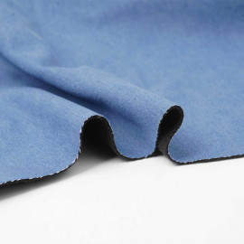 Tissu denim stretch bleu clair à doublure polaire noir   Pretty Mercerie   Mercerie en ligne