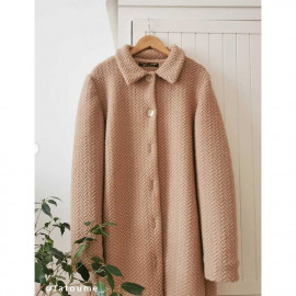 Tissu lainage beige maille bouclée à motif chevron | Pretty Mercerie | mercerie en ligne