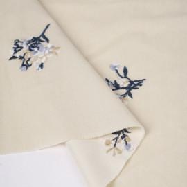 Tissu velours fines côtes écru à motif fleuri brodé | Pretty Mercerie | mercerie en ligne