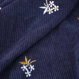 Tissu velours côtelé bleu marine à motif fleur brodé   Pretty Mercerie   Mercerie en ligne