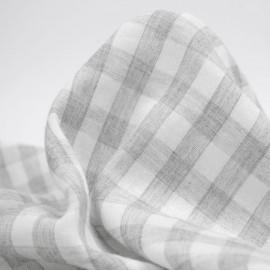 tissu double gaze de coton blanc à motif tissé vichy gris clair | pretty mercerie | mercerie en ligne