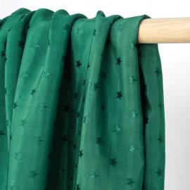 Tissu viscose vert sapin à motif tissé étoile satiné | Pretty Mercerie | mercerie en ligne