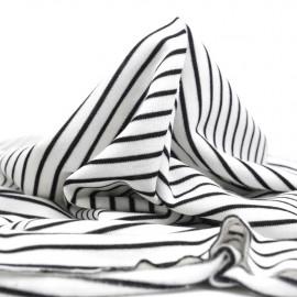 Tissu sweat gratté marinière blanc et noir | Pretty Mercerie | mercerie en ligne