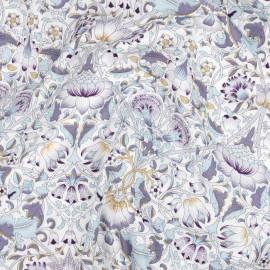 Tissu coton crème à motif fleurs entrelacées mauve, beige et bleu ciel | Pretty Mercerie | mercerie en ligne