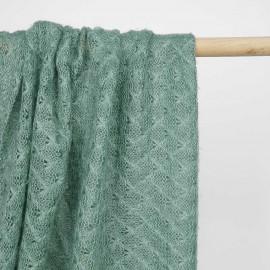 Tissu maille crème de menthe à motif losange ajouré | pretty mercerie | mercerie en ligne