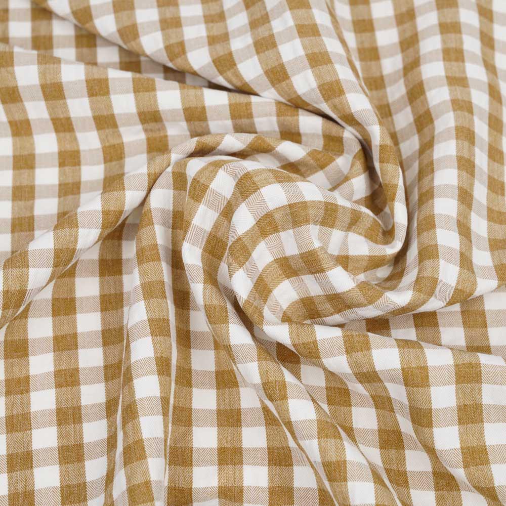 Tissu polycoton cannelle et blanc à motif tissé vichy   Pretty mercerie   mercerie en ligne