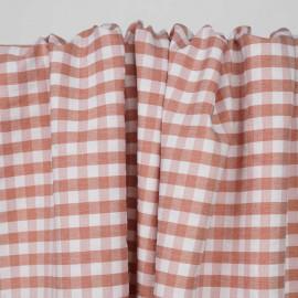 Tissu polycoton mango et blanc à motif tissé vichy | Pretty mercerie | mercerie en ligne