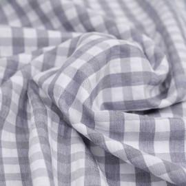 Tissu polycoton gris mouette et blanc à motif tissé vichy | Pretty mercerie | mercerie en ligne