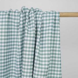 Tissu polycoton vert agathe et blanc à motif tissé vichy | Pretty mercerie | mercerie en ligne