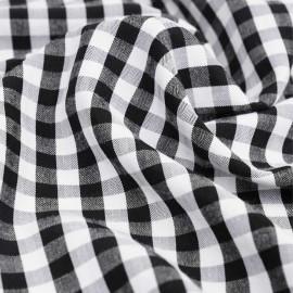 Tissu polycoton noir et blanc à motif tissé vichy | Pretty mercerie | mercerie en ligne