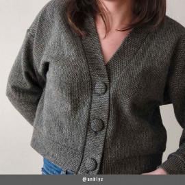 Tissu lainage gris maille tissée chevron fils dorés | pretty mercerie | mercerie en ligne