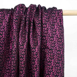 Tissu jacquard noir à motif léopard fil lurex violet | pretty mercerie | mercerie en ligne