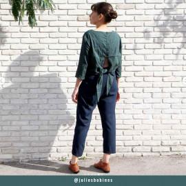 Tissu coton plumetis et bandes brodées vert jungle  - pretty mercerie - mercerie en ligne