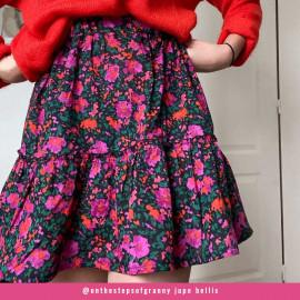 Tissu coton noir à motif bouquet de fleur violet, orange, vert et corail| Pretty Mercerie | Mercerie en ligne