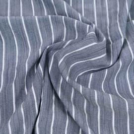 Tissu viscose blue denim tissé à motif rayures fil lurex argenté   pretty mercerie   mercerie en ligne