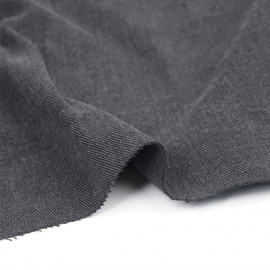 Tissu toile denim stretch gris foncé chiné | pretty mercerie | mercerie en ligne
