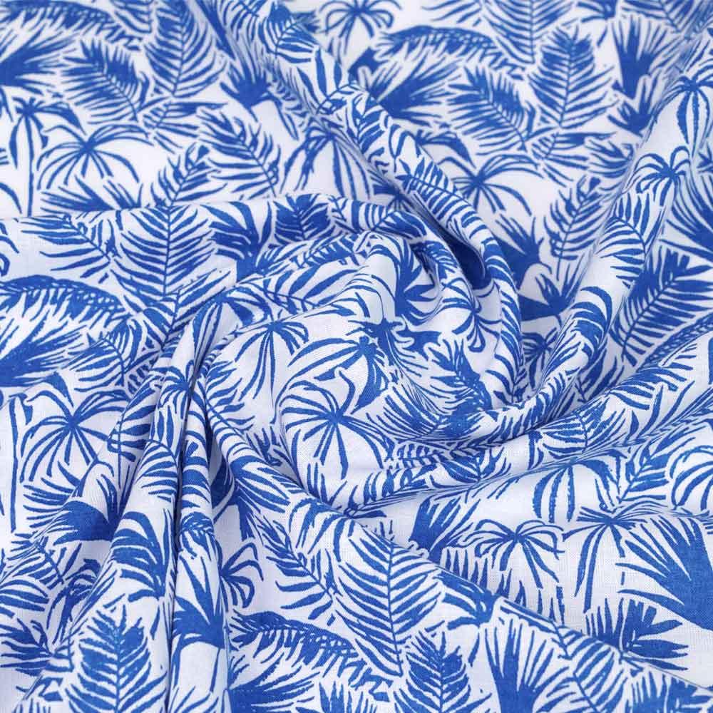 Tissu coton et lin blanc à motif riviera dazzling blue | pretty mercerie | mercerie en ligne