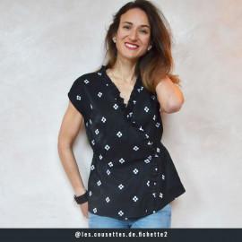 Tissu coton noir à motif jolies fleurs brodées blanche | pretty mercerie | mercerie en ligne